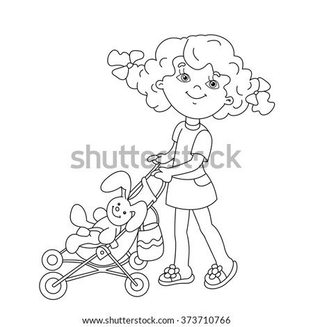 coloring page outline of cartoon girl playing with dolls with baby stroller coloring book for