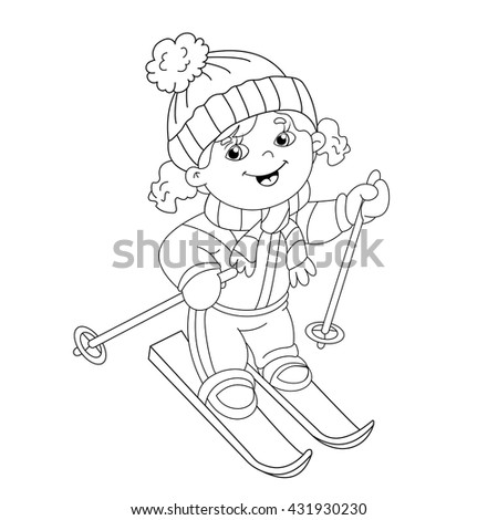 coloring page outline of cartoon girl riding on skis winter sports coloring book for