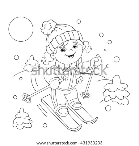 Coloring Page Outline Cartoon Girl Riding Stock Vector 431930233 ...