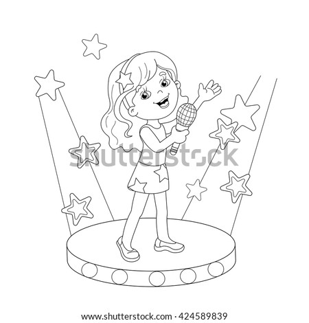 Coloring Page Outline Cartoon Girl Singing Stock Vector 424589839