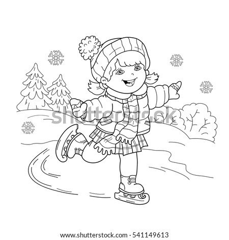 Coloring Page Outline Cartoon Girl Skating Stock Vector 541149613