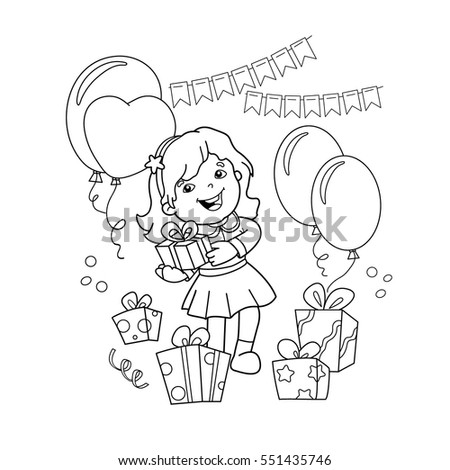 coloring page outline of cartoon girl with a gift at the holiday coloring book for