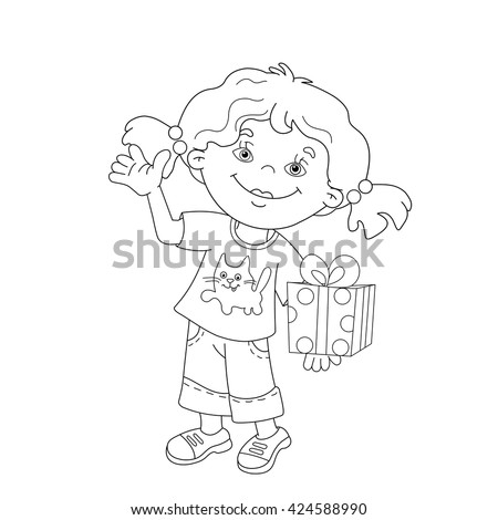 Coloring Page Outline Of cartoon girl with a gift. Coloring book for kids - stock vector