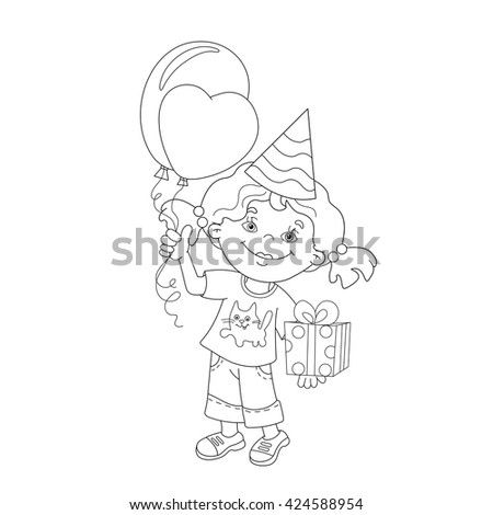 Coloring Page Outline Of cartoon girl with gift and balloons. Coloring book for kids - stock vector