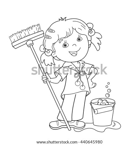 Coloring Page Outline Cartoon Girl Mop Stock Vector 440645980
