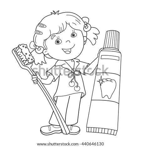coloring page outline of cartoon girl with toothbrush and toothpaste coloring book for kids