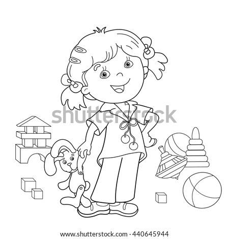 Coloring Page Outline Cartoon Girl Toys Stock Vector 440645944