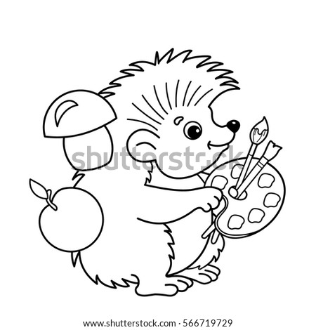 Coloring Page Outline Of Cartoon Hedgehog With Brushes And Paints Book For Kids
