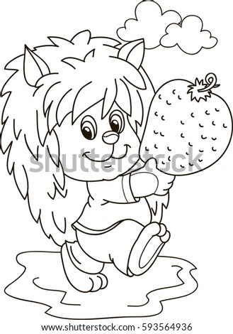 coloring page outline cartoon hedgehog strawberry stock vector