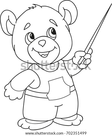 Coloring Page Outline Of Cartoon Little Bear With A Pointer At School.  Vector Illustration,