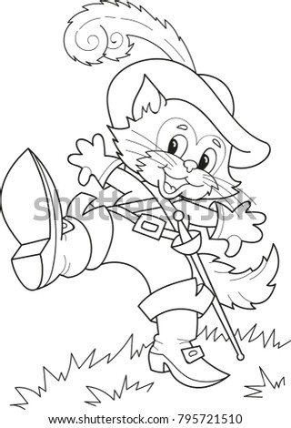 Coloring Page Outline Of Cartoon Puss In Boots Vector Illustration Book For Kids