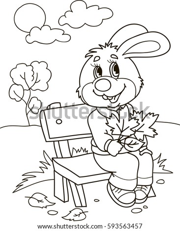 Coloring Page Outline Of Cartoon Rabbit On A Bench With Leafs Vector Illustration
