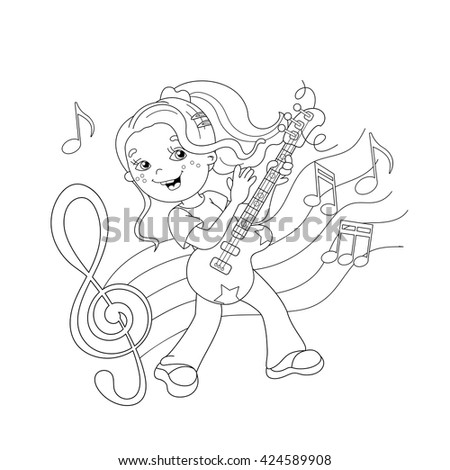 coloring page outline of girl playing the guitar with melody and music coloring book for
