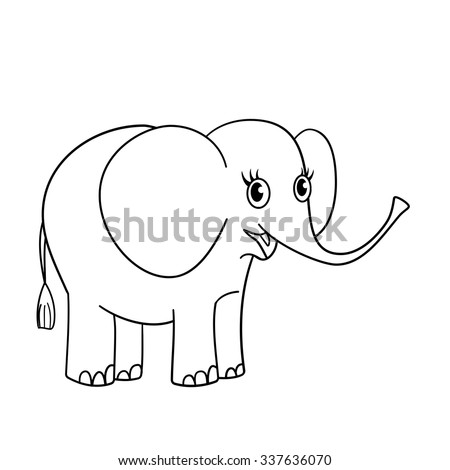 Nice Gray Blue Elephant Hand Drawn Stock Vector 337571081