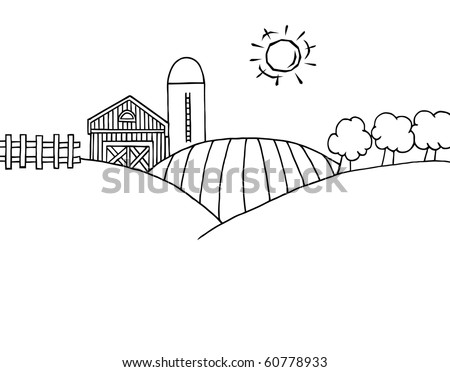 Coloring Page Outline Of Rolling Hills, A Farm And Silo On Farm Land - stock vector