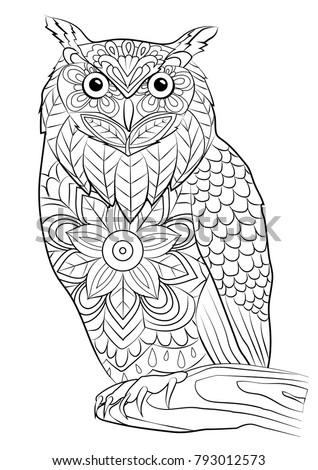 Coloring Page Owl Bird Mandala Stock Vector 793012573 - Shutterstock