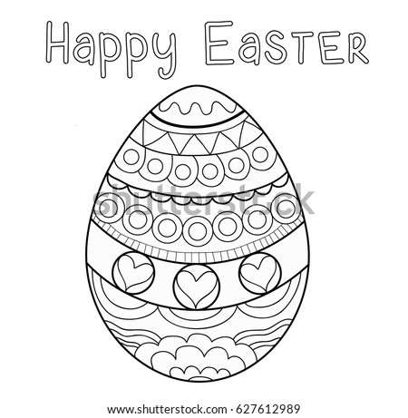 Coloring Page Picture With Happy Easter Egg Black And White Pattern
