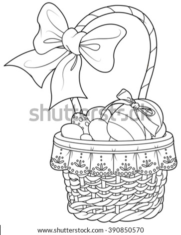 Coloring Page Pretty Easter Basket Full Of Eggs