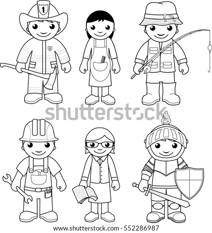 coloring page set of vector illustrations black and white outline images of people representing