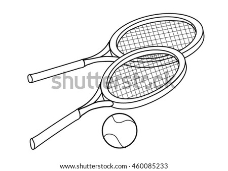 Coloring Page Tennis Rackets Ball Stock Vector HD (Royalty Free ...