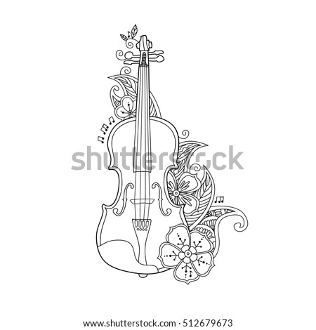 coloring pages violin - violin flower stock images royalty free images vectors
