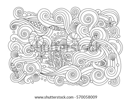 Coloring Page Abstract Sea Background Waves Stock Vector 570058009 ...