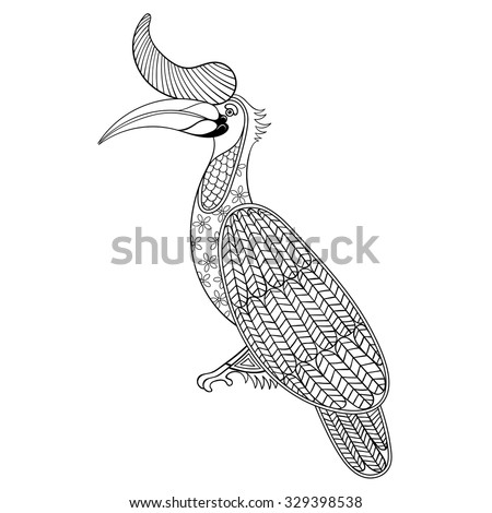 Coloring page with Bird Rhinoceros, zentangle illustartion Hornbill bird for adult Coloring books or tattoos with high details isolated on white background. Vector monochrome sketch of exotic bird. - stock vector