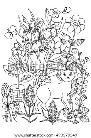Coloring Page Cat Flowers Butterflies Coloring Stock Vector (Royalty ...