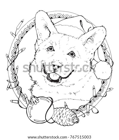 coloring page with christmas corgi in the decorative frame