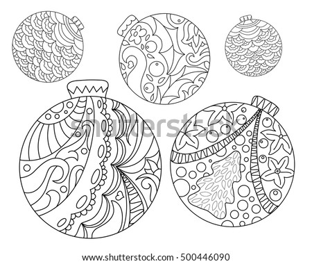 Coloring Page Christmas Tree Ornaments Christmas Stock Vector ...