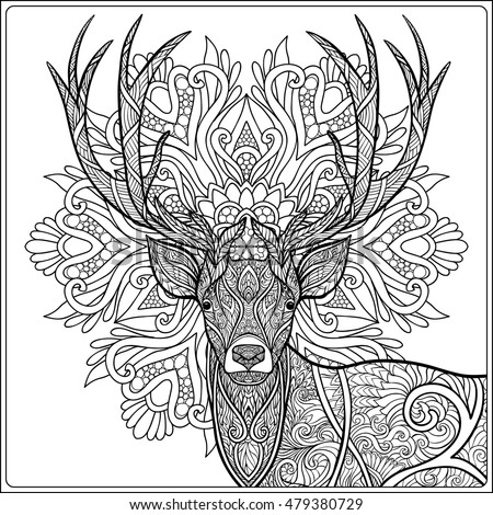 Coloring Page With Deer In Forest. Coloring Book For Adult And Older  Children. Vector