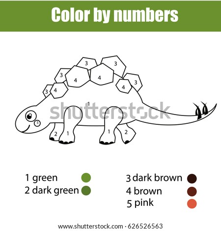 Coloring Page With Dinosaur Stegosaurus Color By Numbers Educational Children Game Drawing Kids Activity