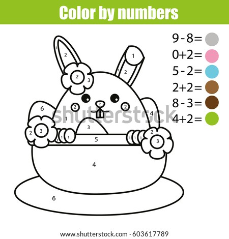 Coloring Page With Easter Bunny Character Color By Numbers Math Educational Children Game Drawing