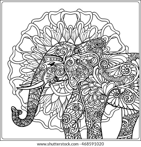Coloring Page Elephant Decorative