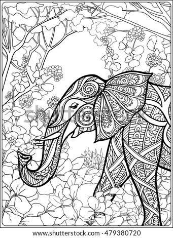 coloring page with elephant in forest coloring book for adult and older children vector - Coloring Page Elephant Design