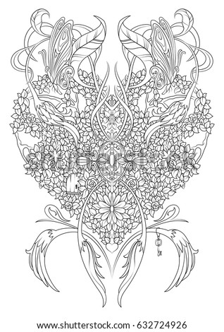 Coloring Page With Fantasy Heart Made Of Shrubs Branches Flowers Leaves And Butterflies