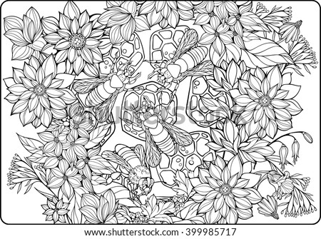 Coloring Page With Flowers And Bees Collecting Honey