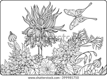 coloring page with flowers and butterfly - stock vector