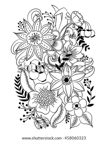 Coloring Page With Flowers And Leaves Vector Pattern Black White Illustration Can Be Used