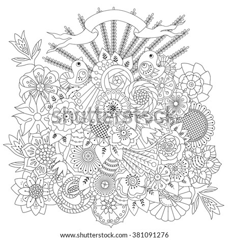 Coloring Page Flowers Birds Ribbon Coloring Stock Vector (2018 ...