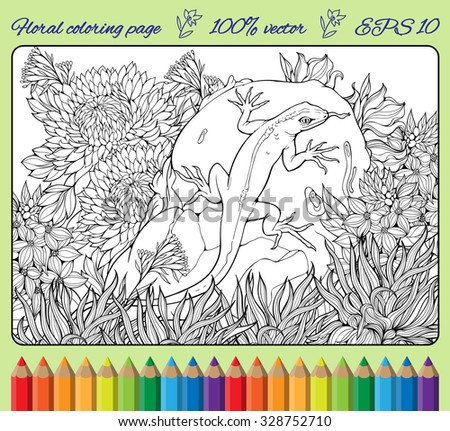 coloring page with flowers, grass, rock and lizard - stock vector