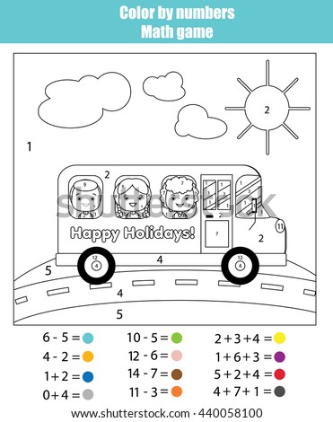 Coloring page with kids traveling in school bus. Color by numbers math children educational game. For school years kids. Learning mathematics, algebra, addttion and subtraction - stock vector