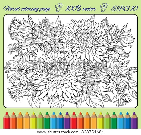 coloring page with lots of various flowers - stock vector