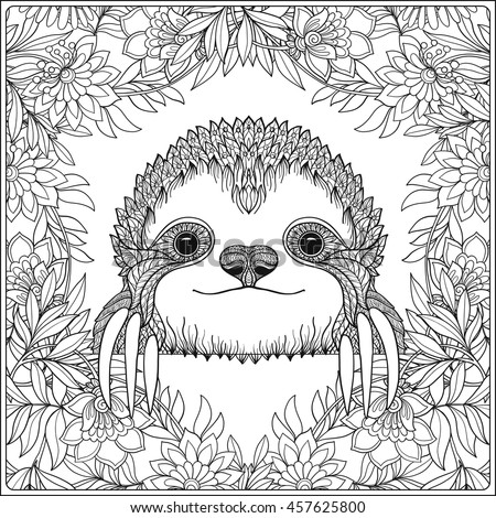 coloring page lovely sloth forest coloring stock vector 457625800