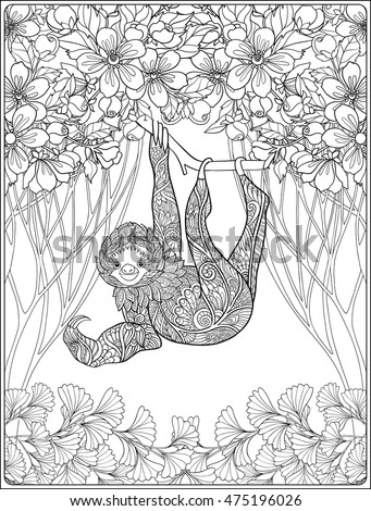 Coloring page with lovely sloth in forest coloring book for adult and older children