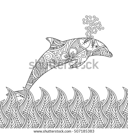 coloring page with one jumping dolphin in the sea square composition coloring book for