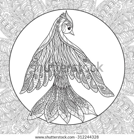Coloring page with pattern and bird in zentangle style - stock vector