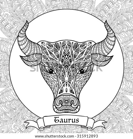Coloring Page With Pattern And Zodiac Sign Taurus In Zentangle Style