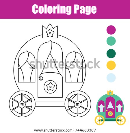 coloring page with princess carriage color the picture educational children game drawing kids