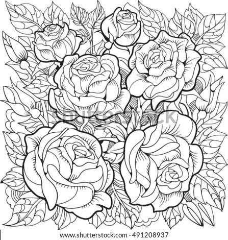 Coloring Page Stock Images Royalty Free Images Vectors Roses Color Pages